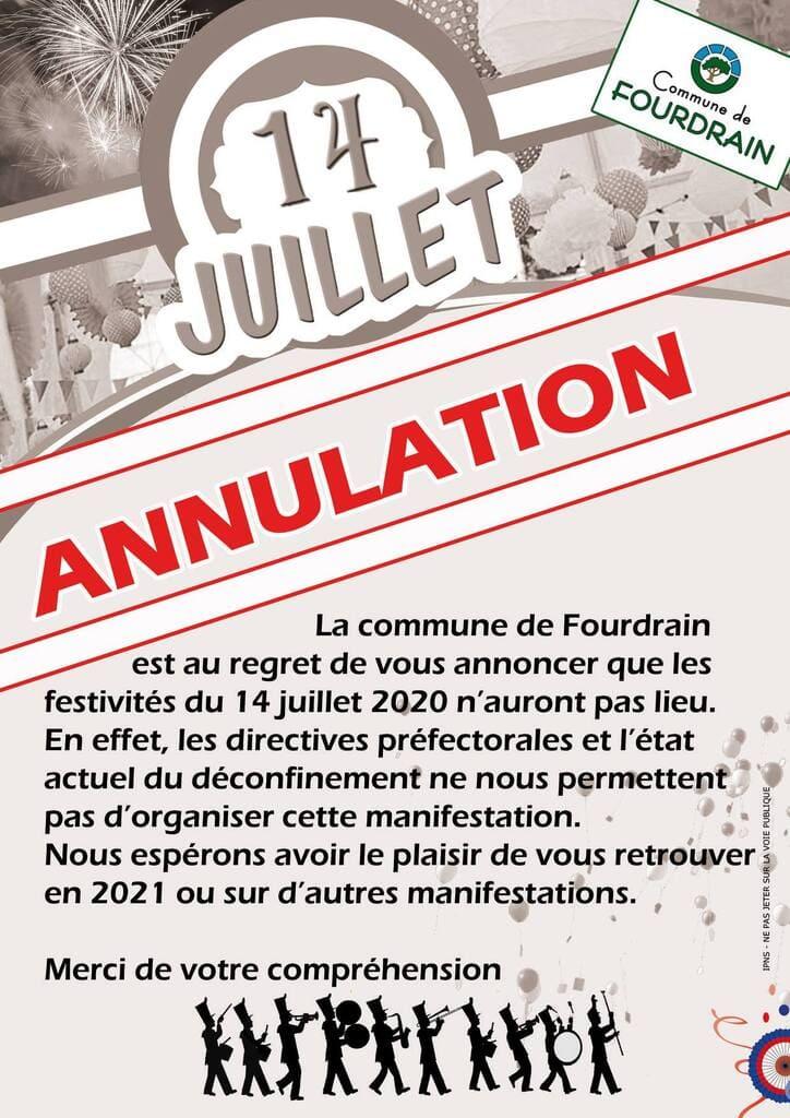 Annulation cérémonie du 14 juillet 2020_ Commune de Fourdrain